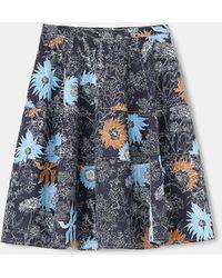 Aspesi Skirts - Stretch Gabardine Skirt Peony Print 98% Cotton 2% Elastane 38 - Blue