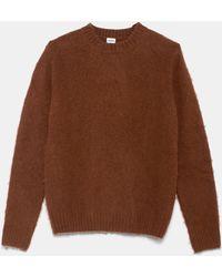 Aspesi - Strickwaren & Pullover - Pullover mit Rundhalsausschnitt aus gebürsteter Shetlandwolle BRAUN 100% Wolle 46 - Lyst