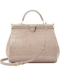 Aspinal of London - Ladies Vintage Taupe Brown Italian Calf Leather Large Florence Deep Shine Soft Croc Frame Bag - Lyst