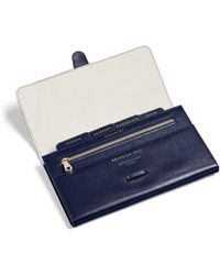 Aspinal of London Credit Card Wallet With Notes Pocket - Blue