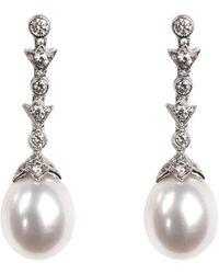 Aspinal of London - Victoriana Diamond & Pearl Drop Earrings - Lyst