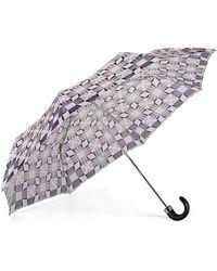 Aspinal of London Folding Umbrella - Marylebone Compact Umbrella In Monochrome - Black
