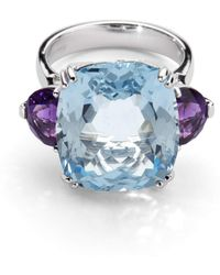 Aspinal of London Ophelia Blue Topaz & Amethyst Cocktail Ring