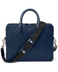 Aspinal of London Large Mount Street Laptop Bag - Blue