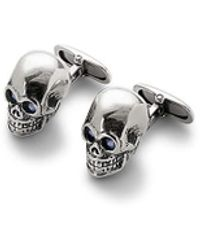 Aspinal of London Sterling Silver Skull Cufflinks - Metallic