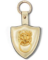 Aspinal of London Large Lion & Shield Keyring - Metallic