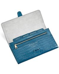 Aspinal of London Ladies Classic Blue And Green Leather Deep Shine Small Croc Travel Wallet