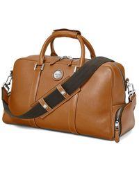 Aspinal of London Tan Brown Italian Calf Leather Aerodrome 48 Hour Mission Bag