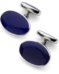 Aspinal of London Oval Sterling Silver Semi Precious Cufflinks - Blue