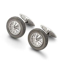 Aspinal of London Classic Sterling Silver Spoked Wheel Cufflinks - Metallic