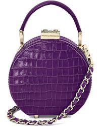 Aspinal of London Ladies Elegant Purple Leather Deep Shine Small Croc Micro Hat Box