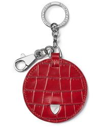 Aspinal of London Disc Keyring - Red