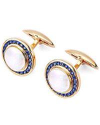 Aspinal of London Round Mother Of Pearl Gemset Cufflinks - Metallic