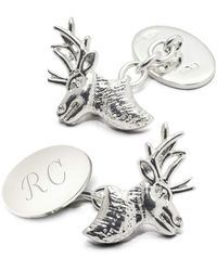 Aspinal of London Sterling Silver Personalised Stag Head Cufflinks - Metallic