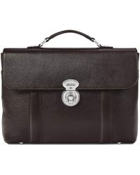 Aspinal of London - Dark Brown Pebble Italian Calf Leather Aerodrome Briefcase - Lyst