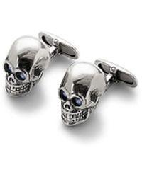 Aspinal of London Sterling Silver Skull Cufflinks, Men's - Metallic
