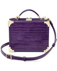 Aspinal of London Ladies Vintage Purple Leather Mini Trunk Clutch Deep Shine Small Croc Bag