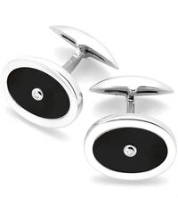 Aspinal of London Luxury Sterling Silver Blue Lapis & Diamond Oval Cufflinks - Metallic