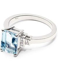 Aspinal of London Iris 18ct White Gold Aquamarine & Diamond Ring - Blue