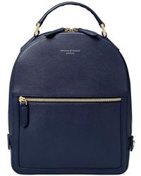 Aspinal of London - Ladies Versatile Black Pebble Navy Saffiano Small Mount Street Backpack - Lyst