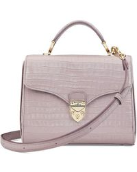 Aspinal of London Ladies Lilac Pink Croc Print Deep Shine Small Midi Mayfair Bag - Purple