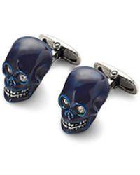 Aspinal of London Sterling Silver Skull Cufflinks - Blue