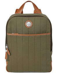 Aspinal of London Green And Tan Brown Canvas Aerodrome Backpack - Multicolor