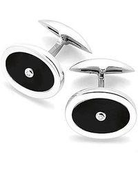 Aspinal - Diamond Sterling Silver Oval Cufflinks - Lyst
