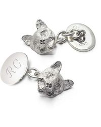 Aspinal of London Sterling Silver Personalised Fox Head Cufflinks - Metallic