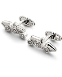 Aspinal of London Mens Classic Sterling Silver Car Cufflinks - Metallic