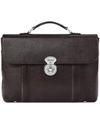 Aspinal of London Dark Brown Pebble Italian Calf Leather Aerodrome Briefcase