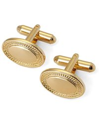 Aspinal of London Gold Plated Engraved Edge Oval Cufflinks, Men's - Metallic