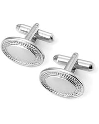 Aspinal of London Sterling Silver Plated Engraved Edge Oval Cufflinks, Men's - Metallic