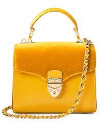 Aspinal of London Mayfair Velvet Micro Grab Bag - Yellow