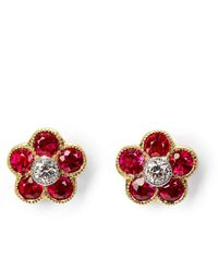 Aspinal of London Athena 18ct Gold Ruby & Diamond Cluster Stud Earrings - Red