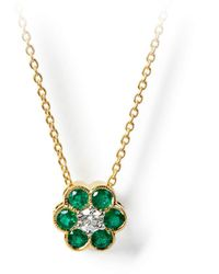 Aspinal of London Athena 18ct Gold Emerald & Diamond Cluster Pendant Necklace - Green