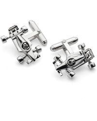Aspinal of London Mens Luxurious Sterling Silver Racing Car Cufflinks - Metallic