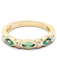 Aspinal of London Selene 18ct Gold Marquise Emerald & Diamond Ring - Green