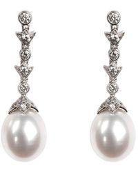 Aspinal of London Victoriana Diamond & Pearl Drop Earrings - Metallic