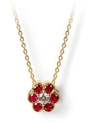 Aspinal of London Athena 18ct Gold Ruby & Diamond Cluster Pendant Necklace - Red