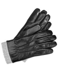 Aspinal of London Mens Leather Gloves With Knitted Cuff - Black
