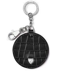 Aspinal of London Disc Keyring - Black
