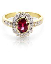 Aspinal of London Debutante Ruby & Diamond Ring - Red