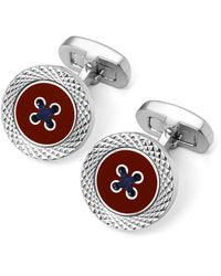 Aspinal of London Engraved Edge Button Cufflinks - Red