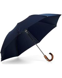 Aspinal of London - Luxury Gents Umbrella - Compact Umbrella With Wooden Handle In Blue - Lyst