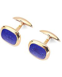 Aspinal of London Cushion Cut Lapis Lazulite Cufflinks With Yellow Gold, Men's, Blue