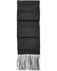 Aspinal of London - Polka Dot Silk Scarf With Tassels - Lyst