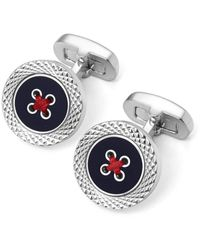 Aspinal of London Engraved Edge Button Cufflinks - Blue