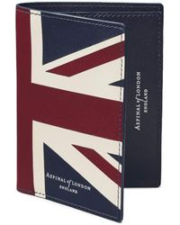 Aspinal of London Brit Credit Card Wallet With Notes Pocket - Blue
