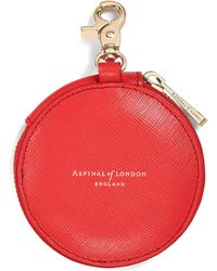 Aspinal of London Round Coin Purse With Keyring - Red